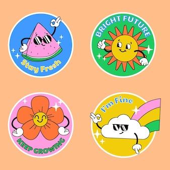 Handgezeichnete trendige cartoon-abzeichen-kollektion