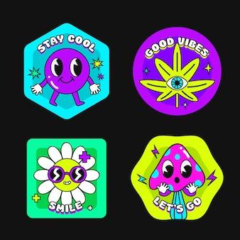 Handgezeichnete trendige cartoon-abzeichen