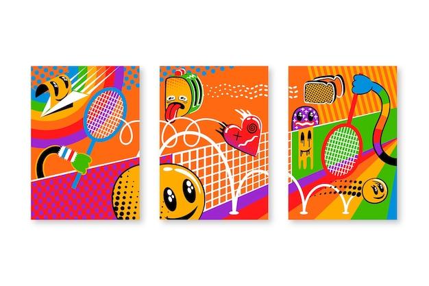 Handgezeichnete trendige cartoon-cover-kollektion