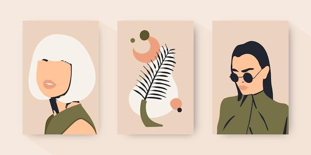 Handgezeichnete trendige modeporträts decken die kollektion ab