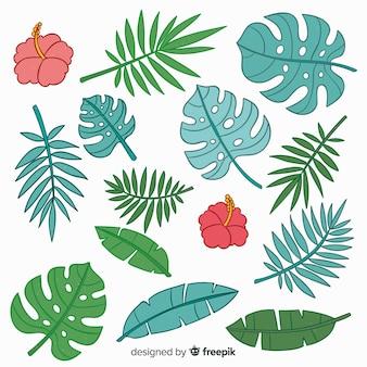 Handgezeichnete tropische blumen und blätter