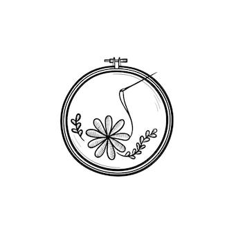 Handgezeichnete umriss doodle handsymbol. faden und nadel für stickereivektorskizzenillustration für druck, netz, handy und infografiken lokalisiert auf weißem hintergrund.