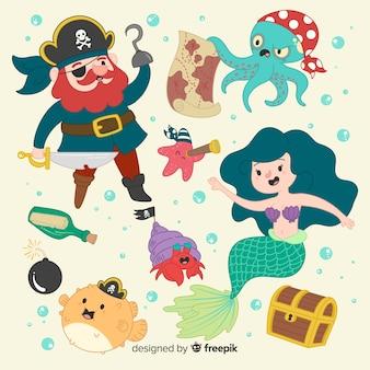 Handgezeichnete unterwasserwelt charakter sammlung