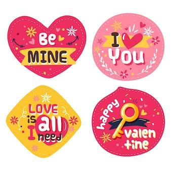Handgezeichnete valentinstag abzeichensammlung