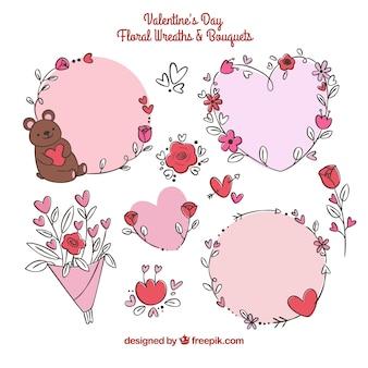 Handgezeichnete valentinstag blumenkränze & blumensträuße
