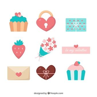 Handgezeichnete valentinstag elemente sammlung