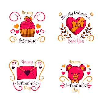 Handgezeichnete valentinstag etiketten mit bändern