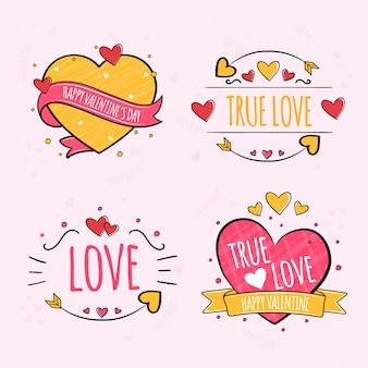Handgezeichnete valentinstag etikettensammlung