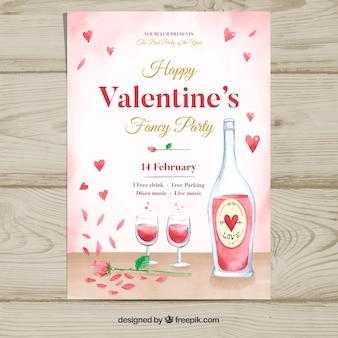 Handgezeichnete valentinstag flyer / poster vorlage