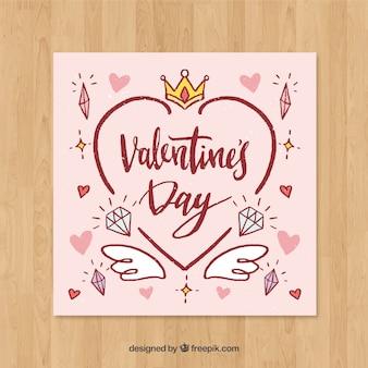 Handgezeichnete valentinstag kartenvorlage