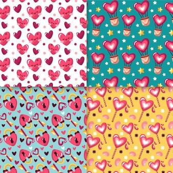 Handgezeichnete valentinstag muster