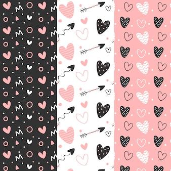 Handgezeichnete valentinstag mustersammlung