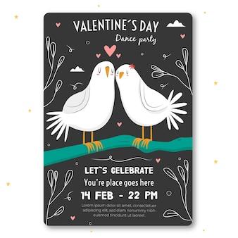 Handgezeichnete valentinstag party flyer / plakat vorlage
