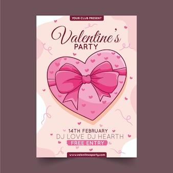 Handgezeichnete valentinstag party flyer