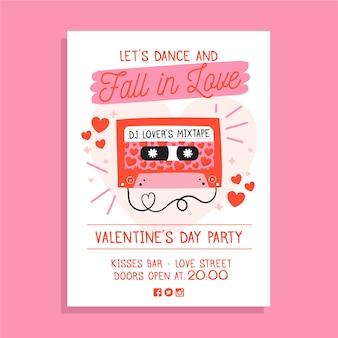 Handgezeichnete valentinstag party plakat vorlage