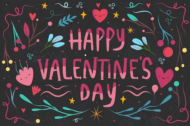 Handgezeichnete valentinstag schriftzug auf schwarzem hintergrund