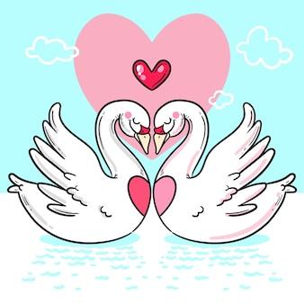 Handgezeichnete valentinstag tierpaare
