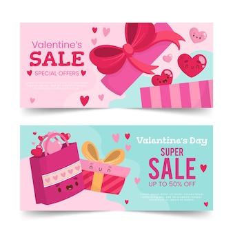 Handgezeichnete valentinstag verkauf banner vorlage
