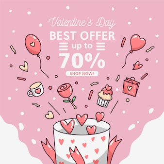 Handgezeichnete valentinstag verkauf