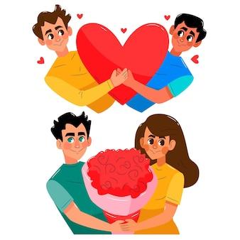Handgezeichnete valentinstagspaarsammlung
