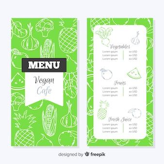 Handgezeichnete vegane menüvorlage
