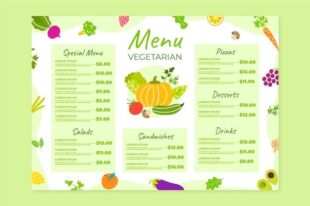 Handgezeichnete vegetarische menüvorlage