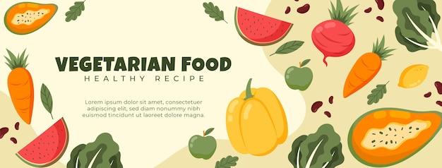Handgezeichnete vegetarisches essen social media cover vorlage