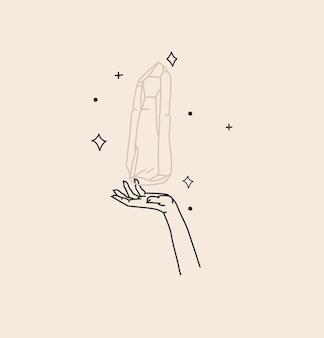 Handgezeichnete vektor abstrakte aktien flache grafische illustration mit logo-element, böhmische zauberkunst der kristallsilhouette, halbmond, frauenhand im einfachen stil für branding, auf farbigem hintergrund isoliert.