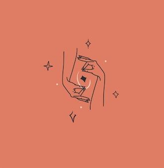 Handgezeichnete vektor abstrakte flache grafische illustration mit logo-element, böhmische magische strichzeichnungen von halbmond und sternen in der hand der frau, einfacher stil für das branding, auf farbigem hintergrund isoliert.