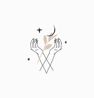 Handgezeichnete vektor abstrakte flache grafische illustration mit logo-element, böhmische magische strichzeichnungen von menschenhand, halbmond, blättern und sternen im einfachen stil für das branding, isoliert auf weißem hintergrund.