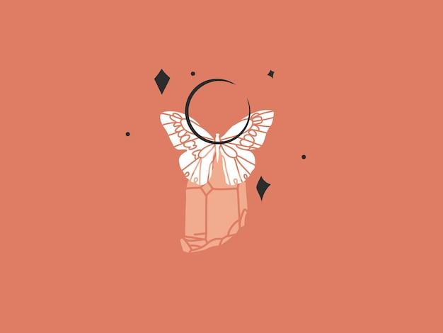 Handgezeichnete vektor abstrakte flache grafische illustration mit logo-element, böhmische zauberkunst von halbmond, schmetterling und kristallsilhouette im einfachen stil für das branding, isoliert auf farbigem hintergrund.