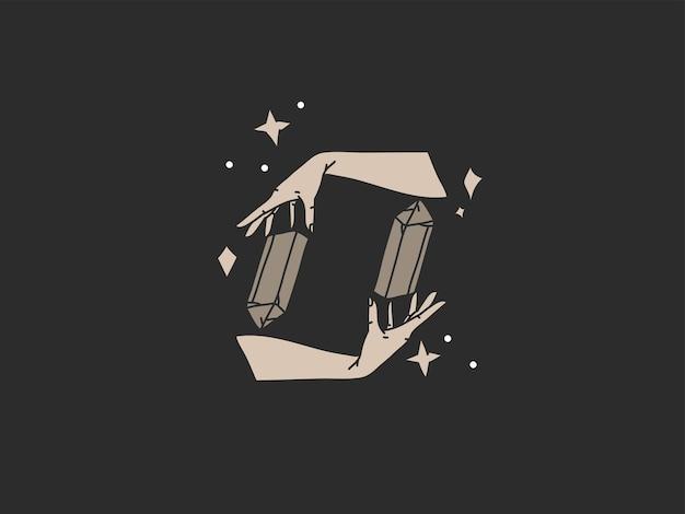 Handgezeichnete vektor abstrakte flache grafische illustration mit logo-element, böhmische zauberkunst von hexenhänden, sternen und kristallsilhouette im einfachen stil für das branding, auf schwarzem hintergrund isoliert.