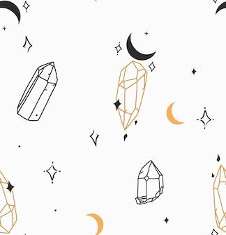 Handgezeichnete vektor abstrakte lager flache grafische illustration nahtlose muster mit böhmischen magischen strichzeichnungen aus kristallstein, mond und sternen im einfachen stil für das branding, isoliert auf weißem hintergrund.