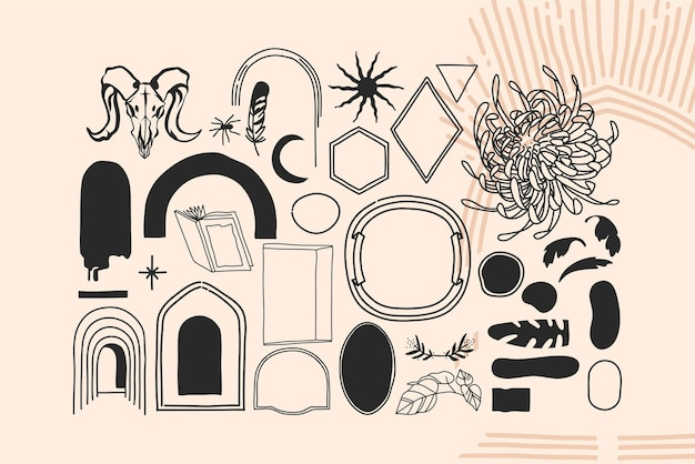 Handgezeichnete vektor abstrakte lager flache grafische illustrationen alchemie esoterische icons sammlung mit logo-elementen, magischer heiliger boho-mond, rahmen, sterne, sonnensilhouetten isoliert auf weißem hintergrund.
