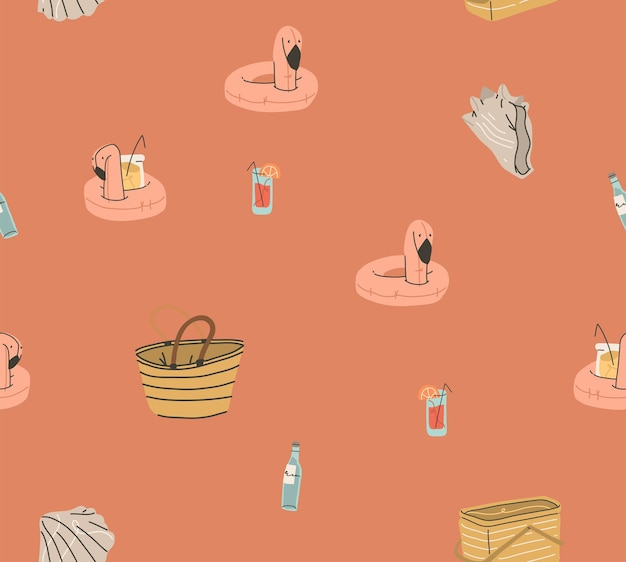 Handgezeichnete vektor abstrakte lager grafik sommer cartoon, kreative moderne minimalistische illustration nahtlose muster mit boho flamingo cocktails ringe und muscheln, auf farbigem hintergrund isoliert.