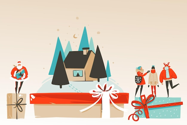 Handgezeichnete vektor abstrakten spaß frohe weihnachten und happy new year zeit cartoon illustration grußkarte mit weihnachtsfamilie, haus und weihnachtsmann auf handwerk hintergrund isoliert.