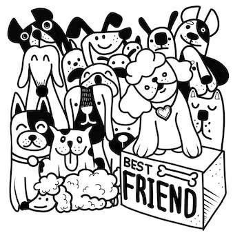 Handgezeichnete vektor-illustration der doodle-hundegruppe, illustrator-linienwerkzeuge, flaches design