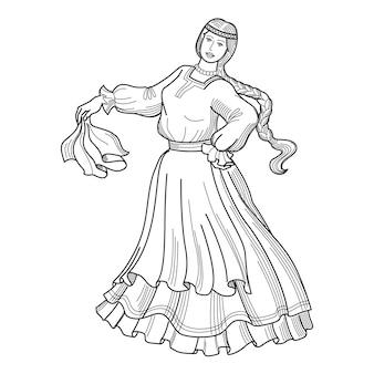 Handgezeichnete vektor-illustration der tänzerin heraldik
