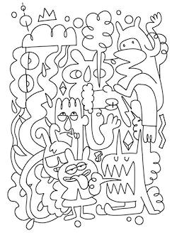 Handgezeichnete vektor-illustration von doodle, illustrator-linienwerkzeuge-zeichnung