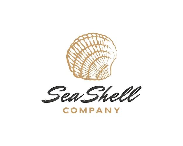 Handgezeichnete vektor-muschel-illustration gravierte art muschel vintage mollusken-logo-design