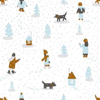 Handgezeichnete vektor-spaß-winterzeit-illustration. nahtloses muster mit menschenhunden, bäumen und häusern