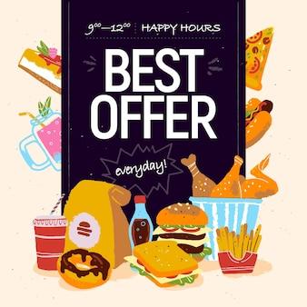 Handgezeichnete vektorgrafik für fast-food-café-sonderangebotswerbung oder bannerdesign mit pizza Premium Vektoren