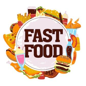 Handgezeichnete vektorgrafik mit fast-food-elementen