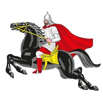 Handgezeichnete vektorillustration des alten russischen ritters mit rüstung und helm auf pferd heraldik