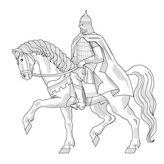 Handgezeichnete vektorillustration des alten russischen ritters mit rüstung und helm auf pferdheraldik