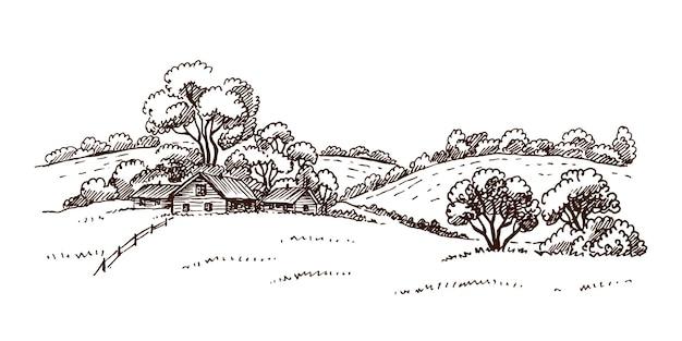 Handgezeichnete vektornaturillustration mit ländlicher landschaft mit einem bauernhof.