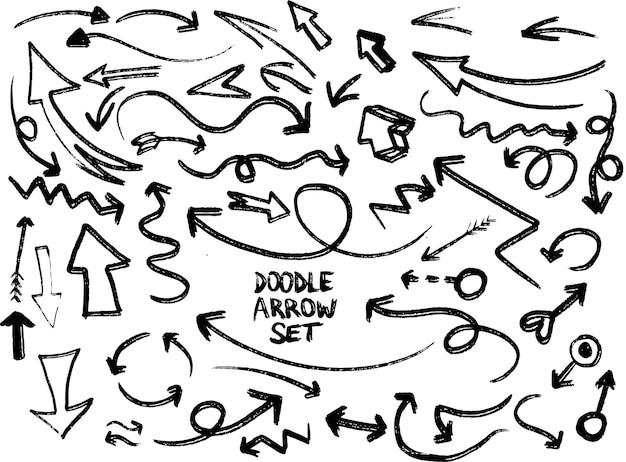 Handgezeichnete vektorpfeile set doodle pfeile pack auf weißem hintergrund kreativität und geschäft