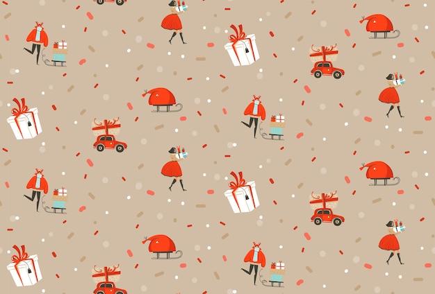 Handgezeichnete vektorzusammenfassung frohe weihnachten und ein glückliches neues jahr cartoon rustikales festliches nahtloses muster mit niedlichen illustrationen von weihnachtsbaumspielzeug glühbirnengirlande einzeln auf schwarzem konfettihintergrund