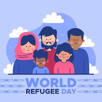 Handgezeichnete veranstaltung zum weltflüchtlingstag