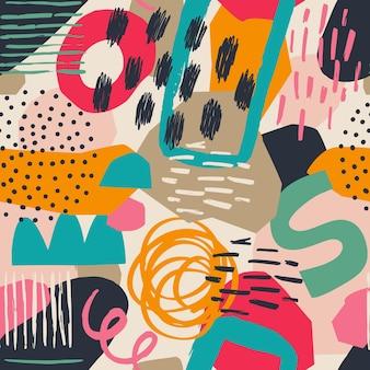 Handgezeichnete verschiedene formen und blätter, flecken, punkte und linien. verschiedene farben. abstraktes zeitgenössisches nahtloses muster. moderne patchwork-illustration im vektor